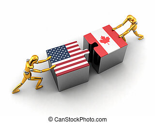 USA and Canada solution - Political or financial concept of...