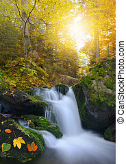 waterfall - Autumnal landscape with waterfall in National...