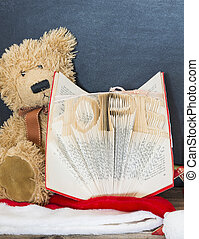 old bear and vintage old book