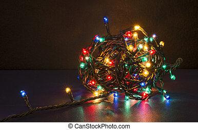 Colorful christmas lights. Shiny leds
