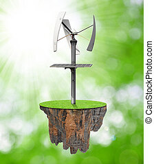 Little island with wind turbine on green background