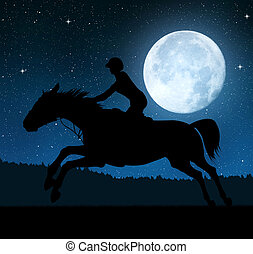 rider on a running horse - Silhouette of a rider on a...