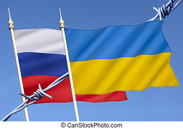 Russia and Ukraine Conflict - Flags of Russia and Ukraine -...