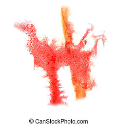 ink red orange blot splatter background isolated on white...