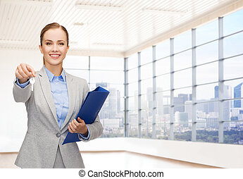 smiling businesswoman with folder and keys - business, real...