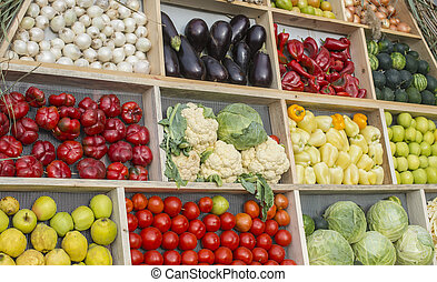Fruits and vegetables at market place.