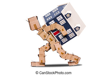 Box man moving house - Man made of boxes carrying a house on...