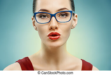 wearing glasses - beauty woman wearing glasses
