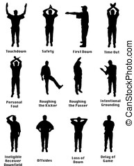 Silhouette of an NFL referee signalling common football...