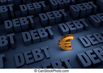 Euro Surrounded By Rising Debt - A small, gold Euro sign...
