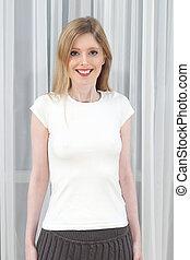 branca, camisa, em branco