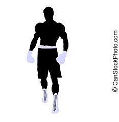Male Boxng Illustration Silhouette - Male boxing art...