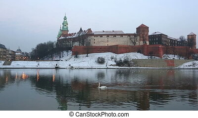 swan floats down the river Vistula against Wawel castle in...