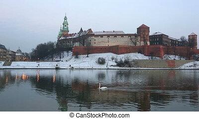 swan floats down the river Vistula against Wawel castle in...