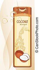 Coconut shampoo Vector illustration