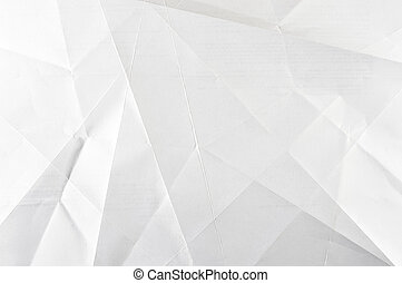 White shaded folded paper abstract - Wrinkled sheet of paper
