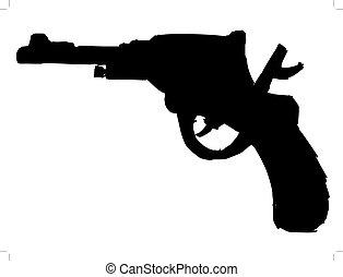 revolver - black silhouette of revolver