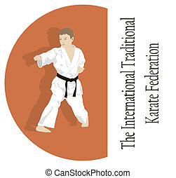 The emblem, the young man is engaged in karate