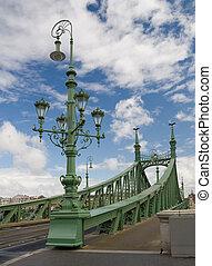 lámpara, libertad, Puente, Budapest