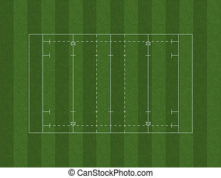 Rugby Pitch Layout - A rugby pitch marked in white on green...