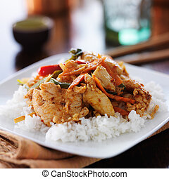 thai red curry with chicken and rice