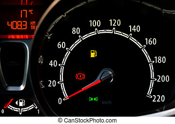Odometer - Red and white Odometer in a car console