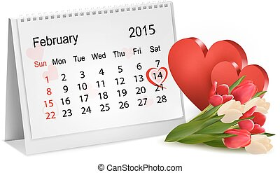 Valentine's Day Calendar. February 14 of Saint Valentines...