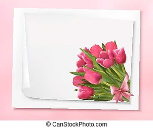 Holiday background with bouquet of pink flowers with bow and ribbon. Vector illustration