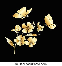 Gold twig sakura blossoms and butterflies. Vector...