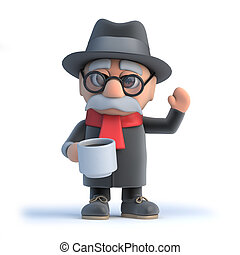 3d Old man has a cup of coffee - 3d render of an old man...