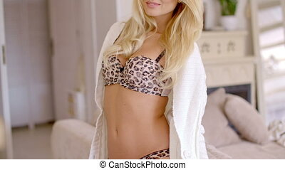 Pretty Female in Cardigan and Animal Printed Bra - Close up...