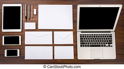Blank Template. Consist of Laptop,Business cards, letterhead...