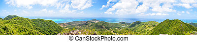 Panorama, huge panoramic view of Providencia Island of...
