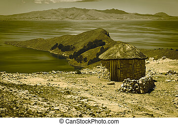 Small Hut on Isla del Sol in Lake Titicaca, Bolivia - Small...