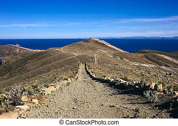 Path on Isla del Sol in Lake Titicaca, Bolivia - Path...