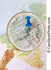 Looking in on Brussels, Belgium, Europe - Blue tack on map...