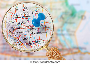 Looking in on Edmonton, Alberta, Canada - Blue tack on map...