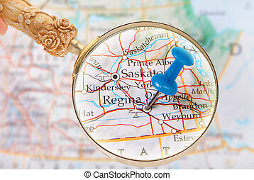 Regina, Saskatchewan, Canada - Blue tack on map of central...