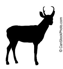 Deer Illustration Silhouette - Black deer art illustration...