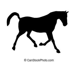 Horse Illustration Silhouette - Black horse art illustration...