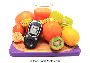 Glucometer, fruits, dumbbells, tape measure and glass of...