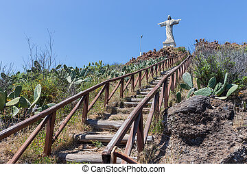Stairs to statue of Jezus Christ at Garajau in Funchal,...