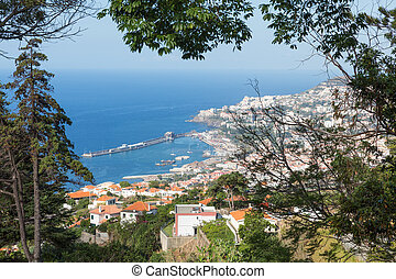 Aerial view at Funchal from the mountains of Madeira Island...