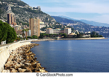 Panoramic view of Monte Carlo, Monaco. Principality of...
