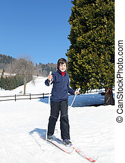 primero, tiempo, con, campo través, esquí,