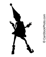 Christmas Elf Silhouette Illustration - A black christmas...
