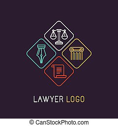 Vector linear logo and icon for lawyer or judical company