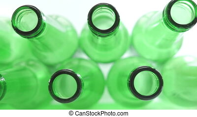 Green Bottle Tops Closeup Dolly - Close up dolly shot of the...