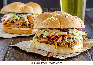 Barbeque Pulled Pork Sandwiches - Two pulled pork barbeque...
