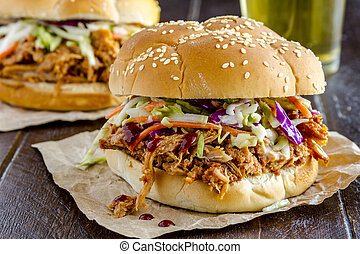 Barbeque Pulled Pork Sandwiches - Close up of pulled pork...